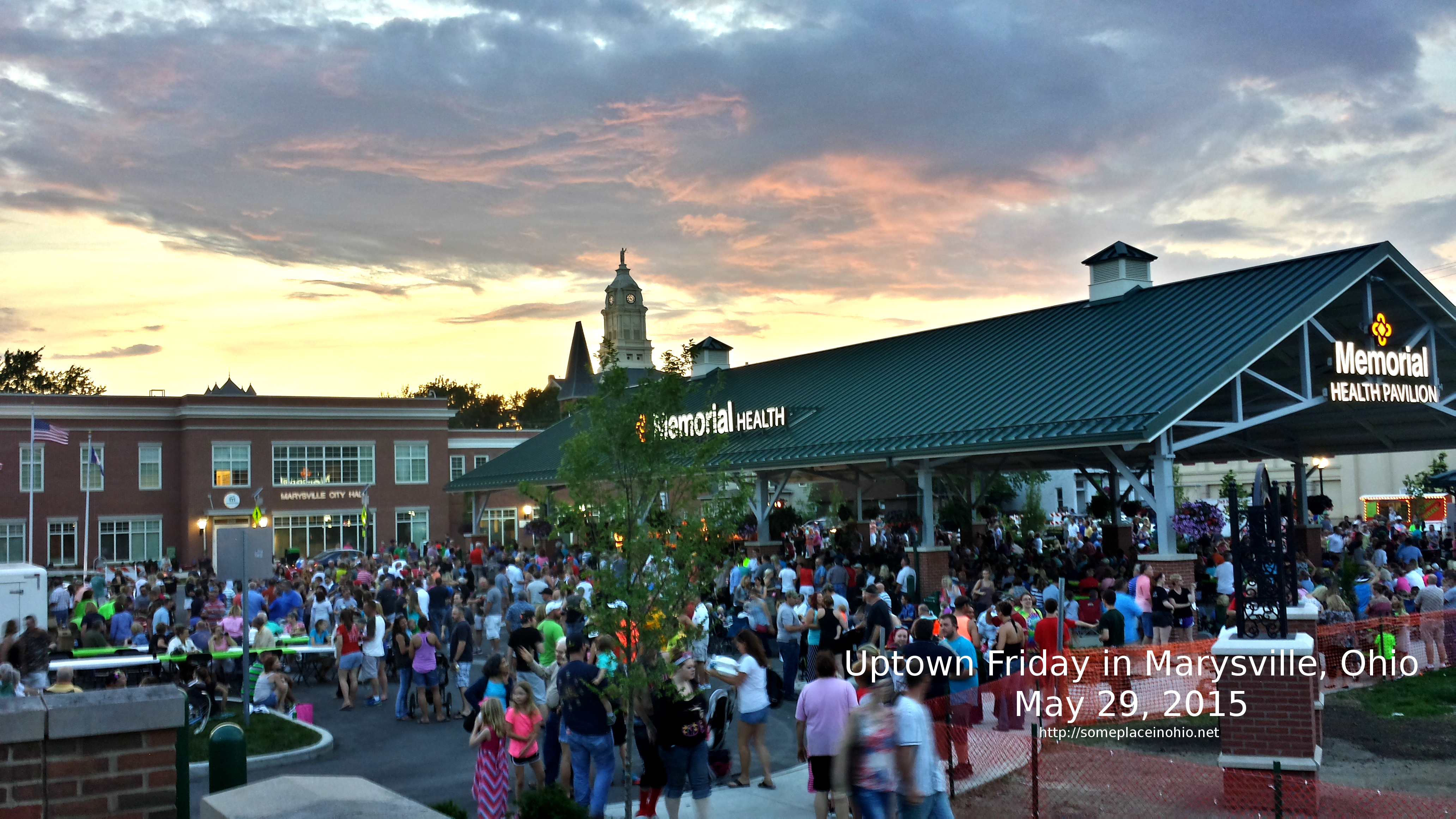 The first Uptown Friday night at Partners Park in Marysville, Ohio
